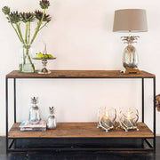 Raffles Reclaimed Wood Industrial Console Table Cutout