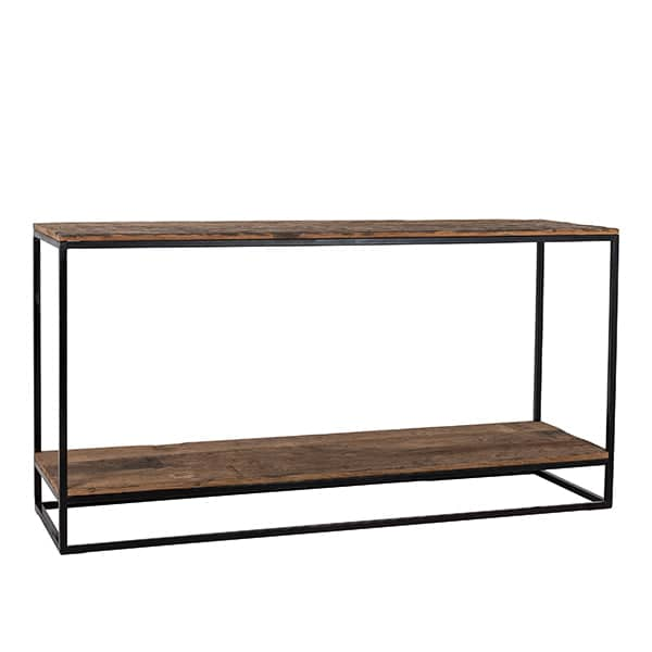 Cutout Raffles Reclaimed Wood Industrial Console Table