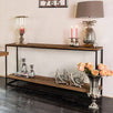 Raffles Reclaimed Wood Industrial Console Table Side Lifestyle