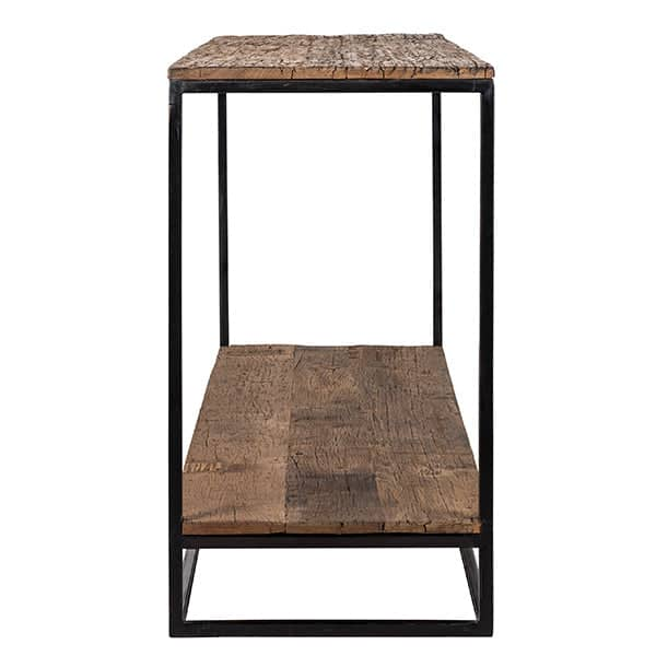 Raffles Reclaimed Wood Industrial Console Table Cutout Side