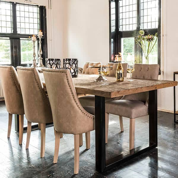 Raffles Reclaimed Wood Industrial Dining Table and Chairs