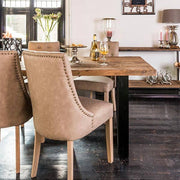 Raffles Reclaimed Wood Industrial Dining Table Side