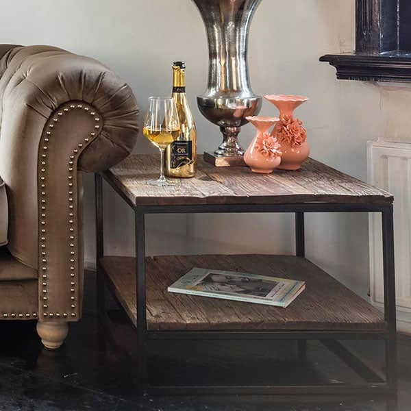 Luxe Kensington Reclaimed Wood Industrial Nest Of Round: Oak & Reclaimed Wood Side Tables