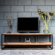 Raffles Reclaimed Wood Industrial TV Unit Front