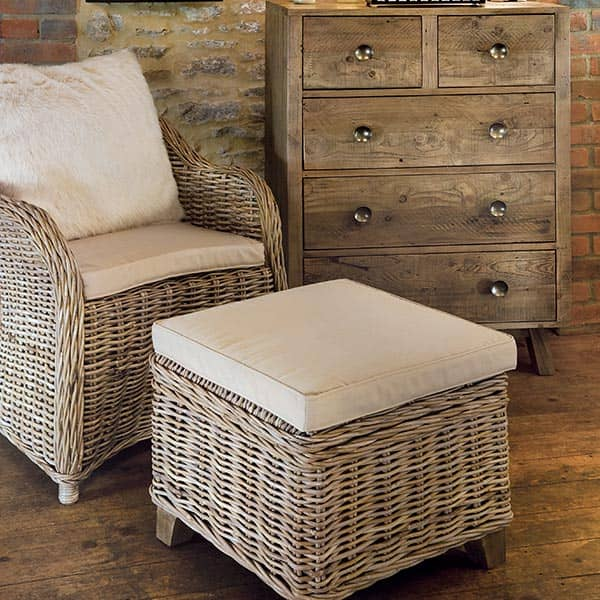 Rattan May Storage Stool with Cushion and Armchair in Room
