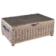 Rattan May Reclaimed Wood and Wicker Storage Coffee Table