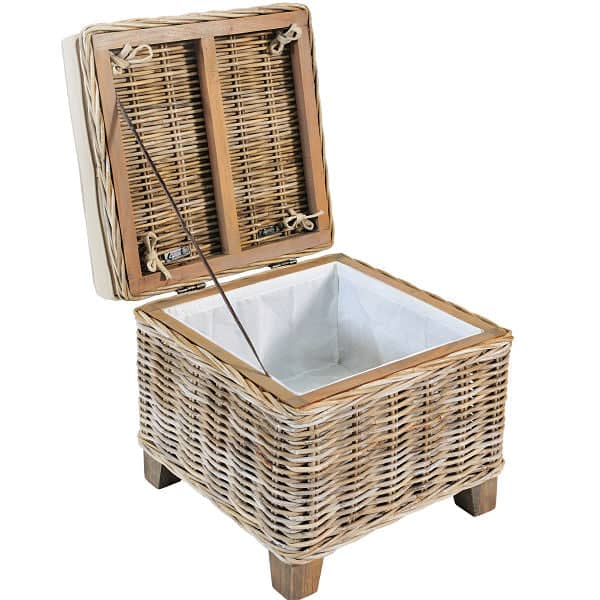 Rattan Storage Stool with Cushion Open