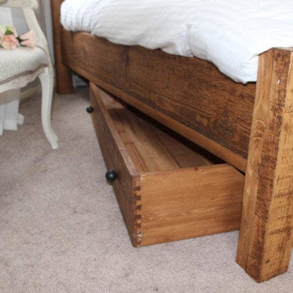 Under the bed drawer made using reclaimed wood