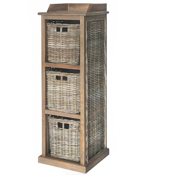 Rattan and Reclaimed Wood Storage Unit with 3 Rattan Baskets