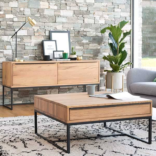 Rocco Industrial Oak Coffee Table and Console Table