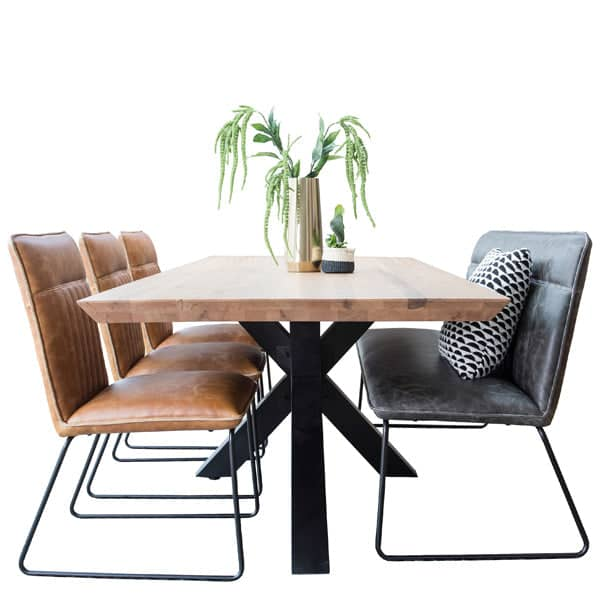Rocco Industrial Oak Spider Leg Dining Table and Chairs