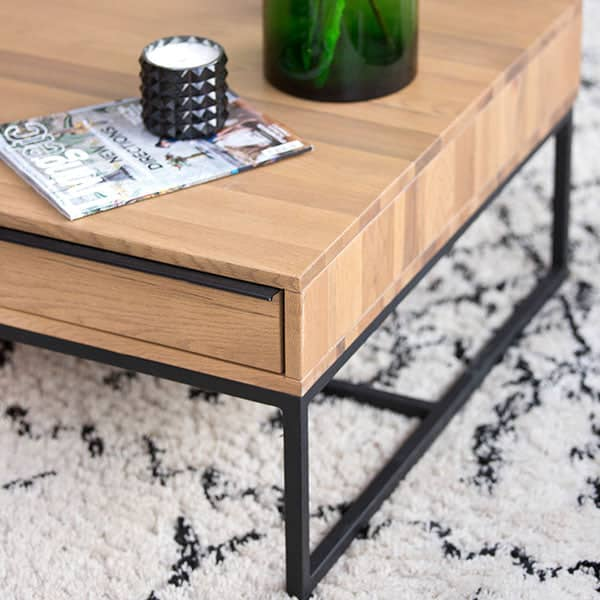 Rocco Industrial Rustic Oak Coffee Table with Steel Leg Frame