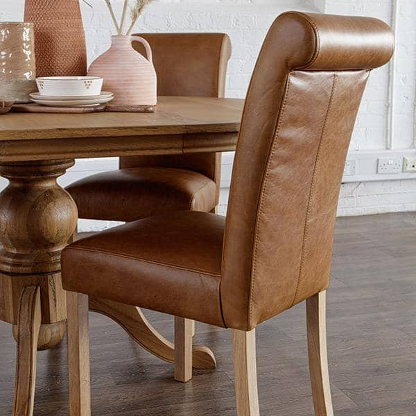 Brown Leather Roll Back Leather Dining Chair with Oak Legs