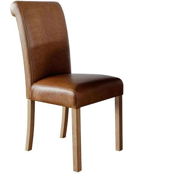 Brown Leather Dining Chair with featuring a roll back