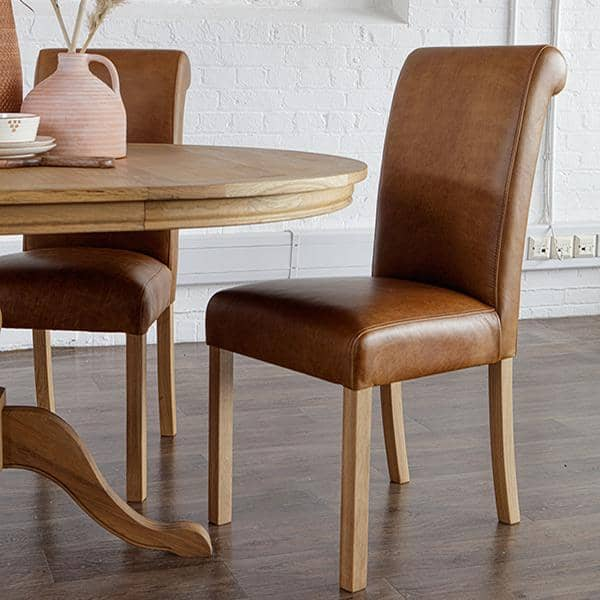 Leather Roll Back Dining Chair with oak dining table