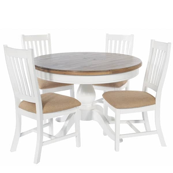 Savannah Reclaimed Wood Round Dining Table and 4 Chairs
