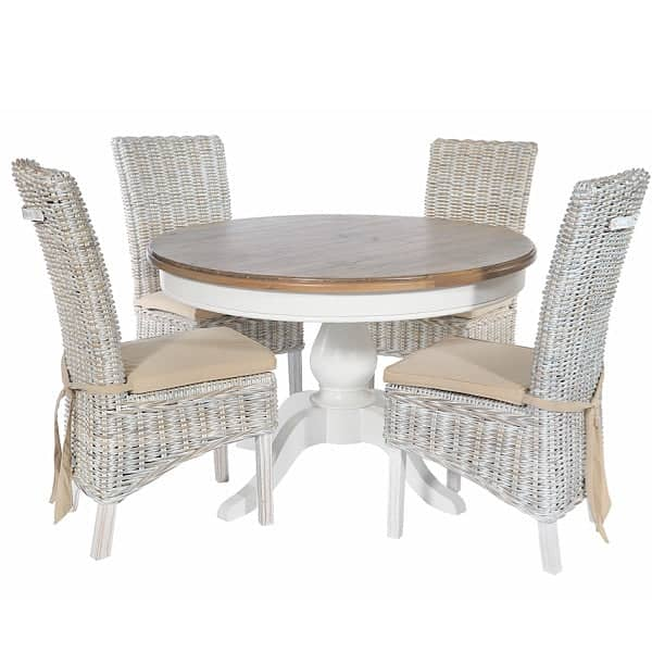 Savannah Reclaimed Wood Round Dining Table with 4 Rattan Chairs