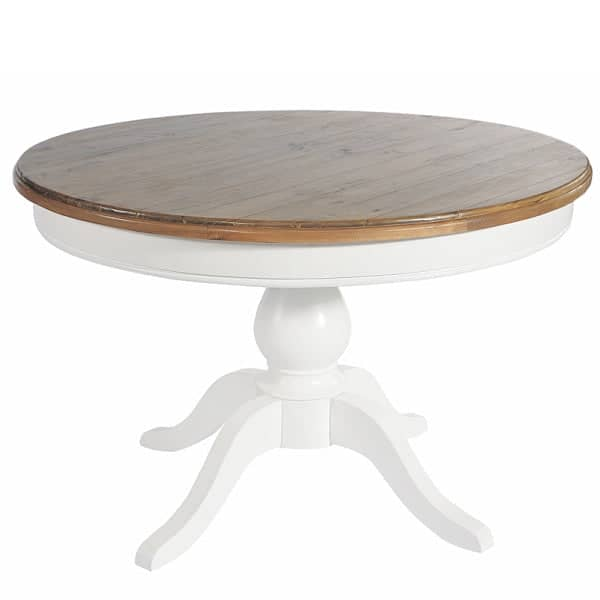 Savannah Reclaimed Wood Round Dining Table with White Leg