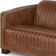 Spitfire Brown Cerato Leather Sofa with stitched seat and back