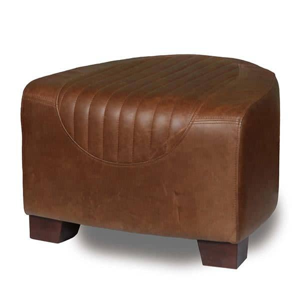 Spitfire Brown Leather Footstool