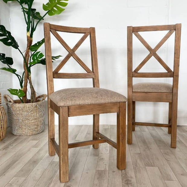 Pair of standford dining chairs with plant in background