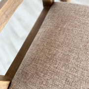 Close up of fabric on seat of standford dining chair