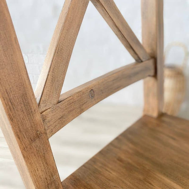 Close up of wood on back of standford dining chair