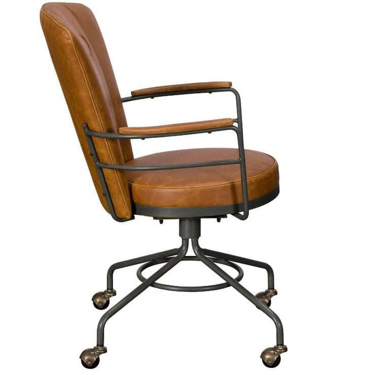 side profile of faux leather office chair showing industrial style legs and arms
