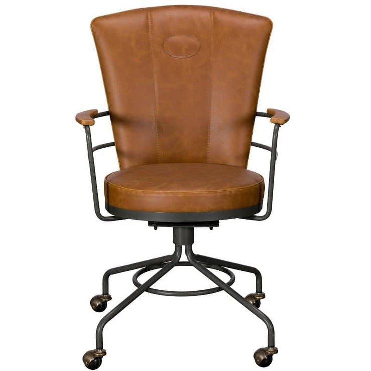 Image of industril office chair with brown faux leather seat and arms on industrial steel legs and castors