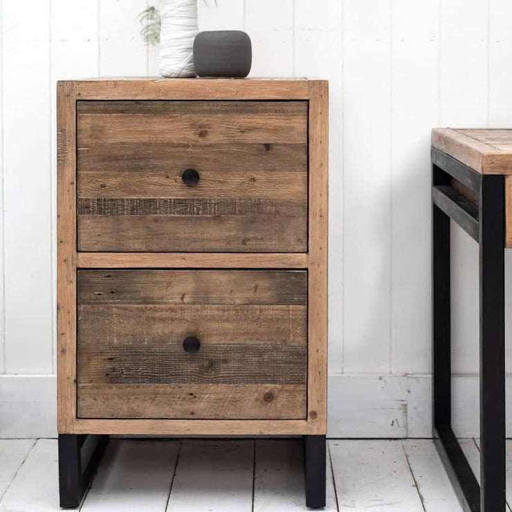 Rustic Reclaimed Wood Filing Cabinet with black steel legs