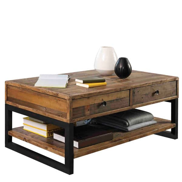 Standford Industrial Reclaimed Wood Coffee Table Cutout Lifestyle