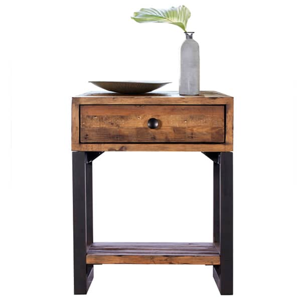 Standford Industrial Reclaimed Wood Lamp Table Cutout