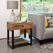 Standford Industrial Reclaimed Wood Lamp Table near Grey Sofa