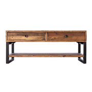Standford Industrial Reclaimed Wood Coffee Table with Shelf