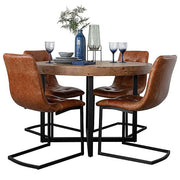 Standford Round Reclaimed Wood Dining Table and Leather Chairs