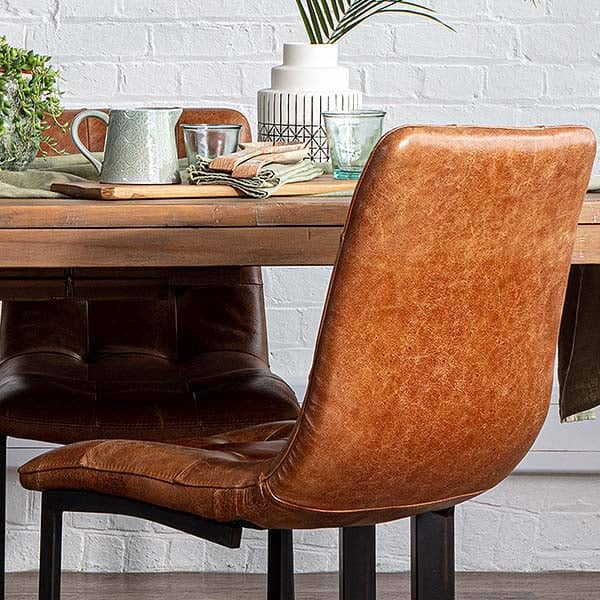 Standford Brown Leather Dining Chairs (pair)