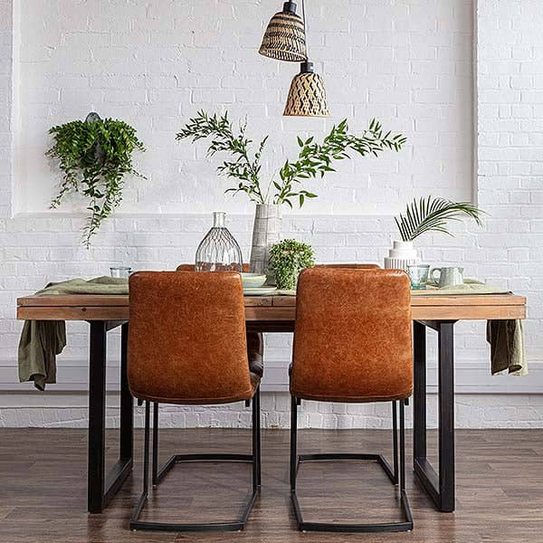 Standford Brown Leather Dining Chairs Pair Modish Living