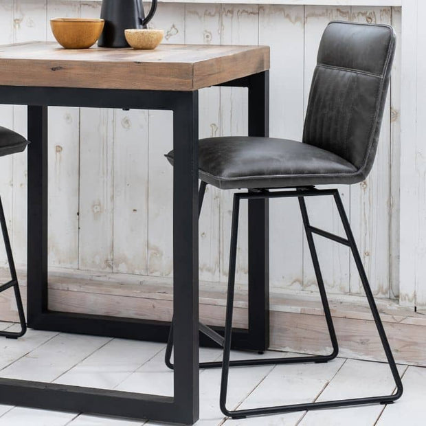 Grey Cleo Faux Leather Bar Stool