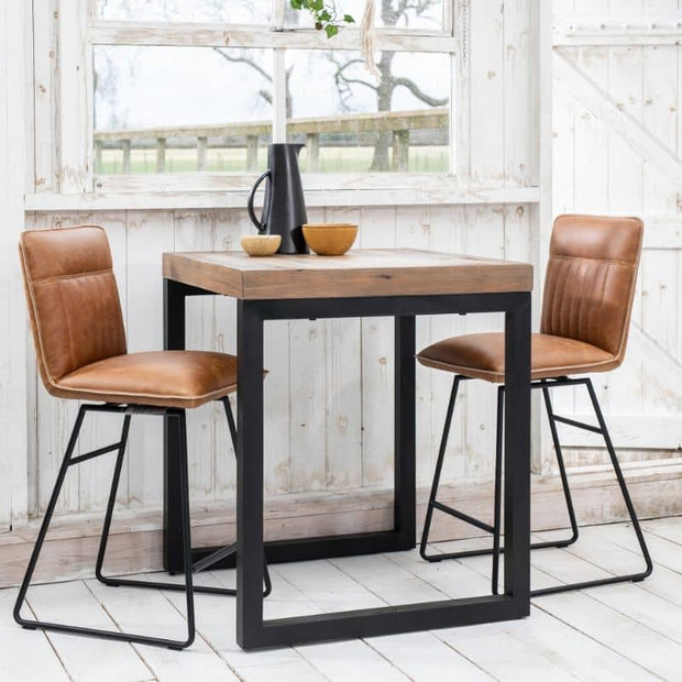 Cleo Faux Leather Bar Stools in tan with bar table