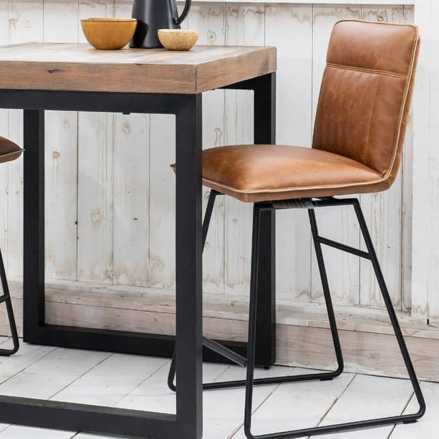 Brown Cleo Faux Leather Bar Stool