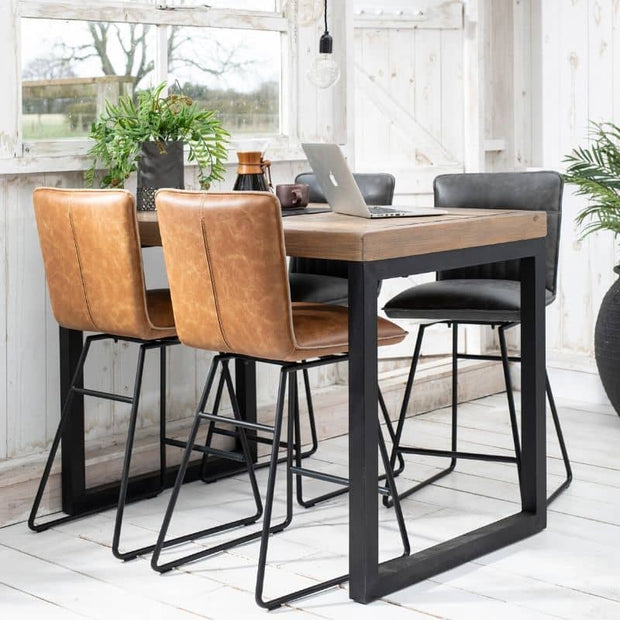 Tan and Grey Cleo Faux Leather Bar Stools with large reclaimed wood bar table