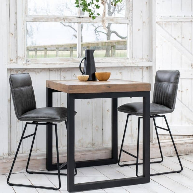 Cleo Faux Leather Bar Stools in grey with bar table