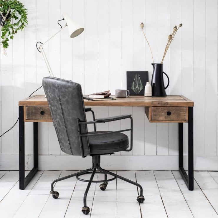 Standford Industrial Reclaimed Wood Desk with grey swivel office chair