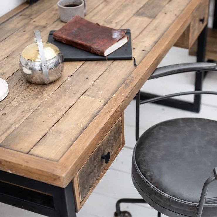 Corner of Standford Industrial Reclaimed Wood Desk Top