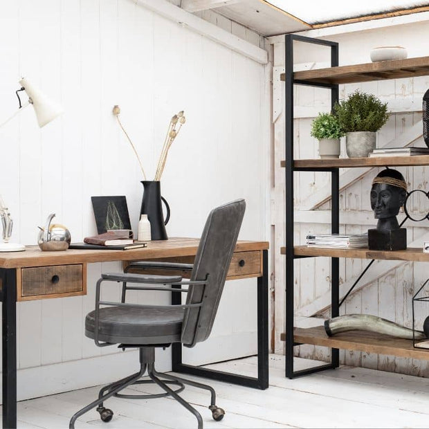 Standford Industrial Reclaimed Wood Bookcase & Reclaimed Desk