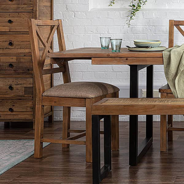 Standford Reclaimed Wood Dining Chair with Cushion at Dining Table
