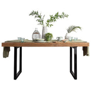 Standford Industrial Reclaimed Wood Dining Table with Fixed Top