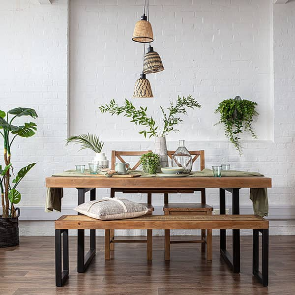 Standford Industrial Reclaimed Wood Dining Table and Bench