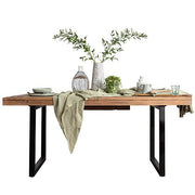 Standford Industrial Reclaimed Wood Extendable Dining Table with Black legs
