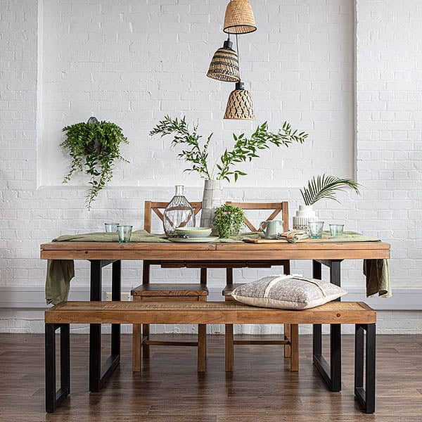 Standford Industrial Reclaimed Wood Bench and Reclaimed Dining Table